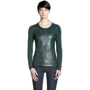 Bailey 44 Faux Leather Alliteration Top Green